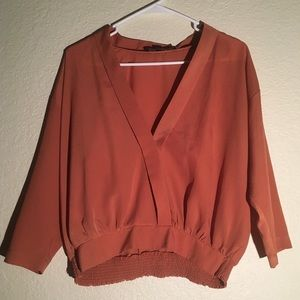 Burnt Orange silky faux wrap blouse - Size Small
